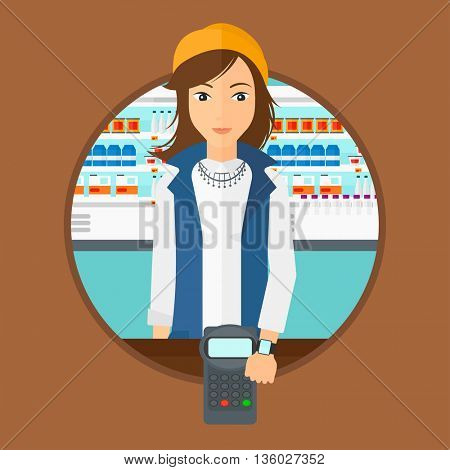 Woman paying wireless with her smart watch at the supermarket. Female customer making payment for purchase with smart watch. Vector flat design illustration in the circle isolated on background.