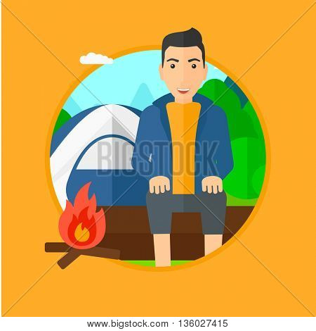Travelling man sitting on a log near a fire on a background of camping site with tent. Man sitting near a campfire at a campsite. Vector flat design illustration in the circle isolated on background.