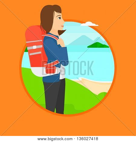 Woman with backpack standing on the top of mountain and enjoying the view while looking at landscape of mountains with lake. Vector flat design illustration in the circle isolated on background.