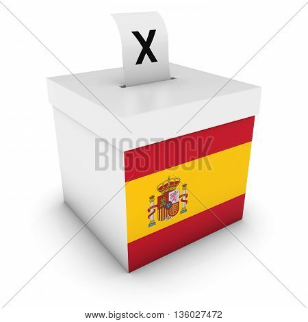 Spanish Elections Ballot Box with Flag of Spain 3D Illustration