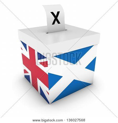 Scottish Uk Referendum Ballot Box With Flags 3D Illustration