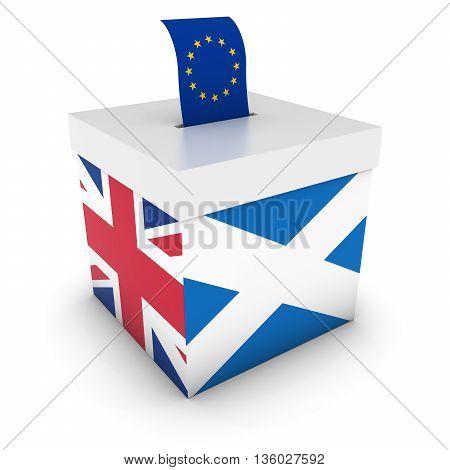 Eu Referendum Between Scotland And The Uk Ballot Box 3D Illustration