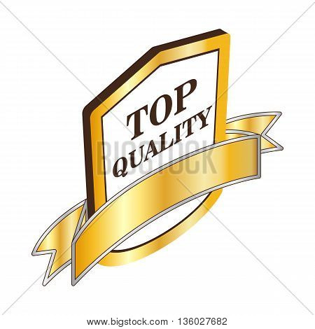 Label top quality icon in isometric 3d style isolated on white background. Products and design symbol