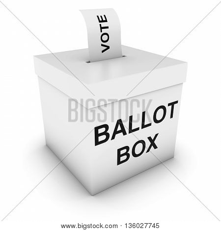 Ballot Box With Vote Polling Card 3D Illustration