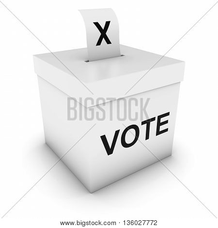 Ballot Box With Vote Text And Cross Slip 3D Illustration
