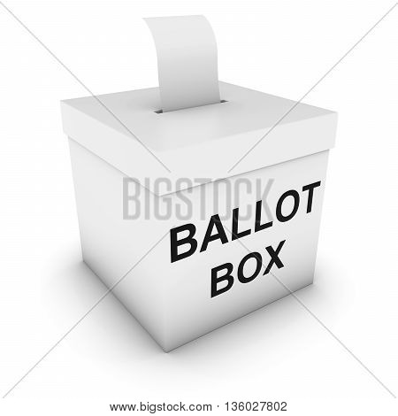 Ballot Box with Blank Polling Card 3D Illustration