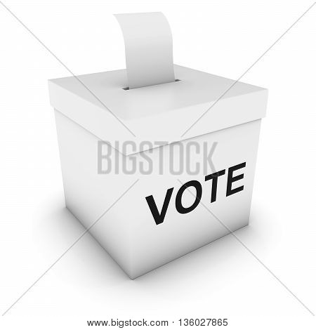 Ballot Box With Vote Text And Blank Polling Card 3D Illustration