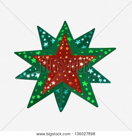 Christmas Star with red and green on a white background