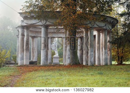autumn morning, pavilion Apollo Colonnade with statue of Apollo Belvedere - roman marble copy of a bronze original of ancient Greek sculptor Leohara in Pavlovsk Park, Saint Petersburg, Russia