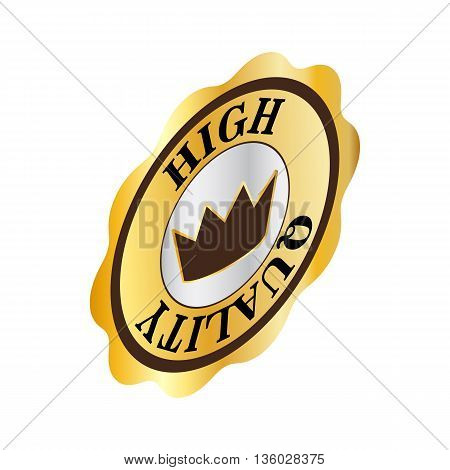 Round label high quality icon in isometric 3d style isolated on white background. Products and design symbol