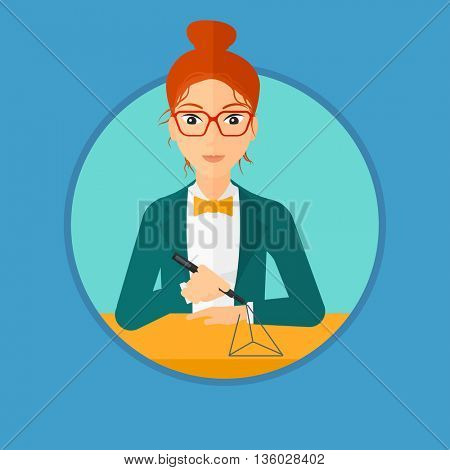 Young woman making a model with a 3D pen. Woman drawing geometric shape by 3d pen. Engineer working with a 3 dimensional pen. Vector flat design illustration in the circle isolated on background.