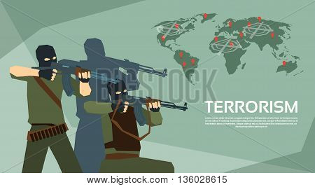 Armed Terrorist Group Over World Map Terrorism Concept Flat Vector Illustration