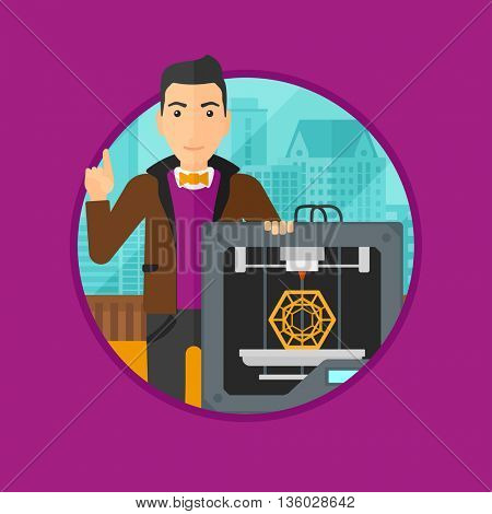 Young man standing near 3D printer and pointing forefinger up. Engineer using a 3D printer indoor. Man working with 3D printer. Vector flat design illustration in the circle isolated on background.