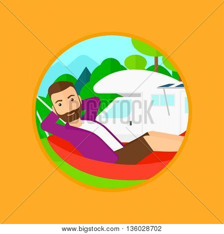 Hipster man with the beard lying in a hammock in front of motor home. Man resting in hammock and enjoying vacation in camper van. Vector flat design illustration in the circle isolated on background.