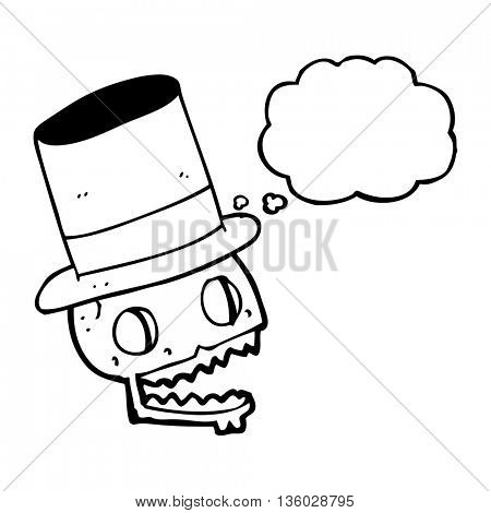 freehand drawn thought bubble cartoon laughing skull in top hat