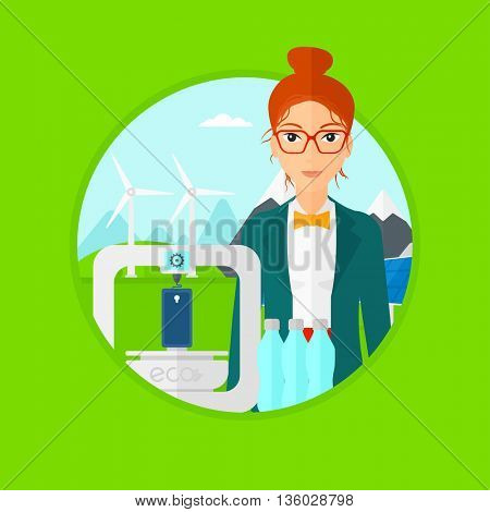 Woman standing near 3D printer on the background of wind turbines. 3D printer making a smartphone using recycled plastic bottles. Vector flat design illustration in the circle isolated on background.