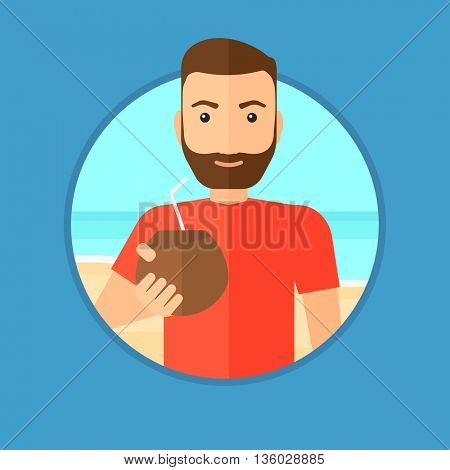 Hipster man with a coconut cocktail on the beach. Young man drinking a coconut cocktail on the beach. Man enjoying his vacation. Vector flat design illustration in the circle isolated on background.
