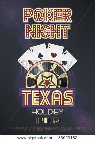Texas Hold'em poker night invitation poster or banner template