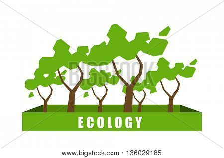 Ecology concept with polygon tree background.