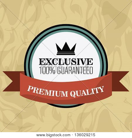 Premium and Quality concept represented by retro seal stamp label icon. Colorfull and flat illustration