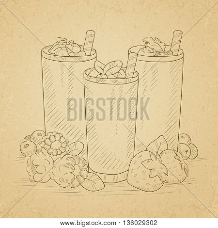 Various fresh berries smoothies in glasses with straw. Smoothies hand drawn on old paper vintage background. Smoothies vector sketch illustration.