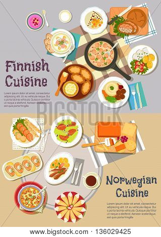 Scandinavian cuisine dinner flat icon with finnish rye and rice pies, sausage sauce and meat balls, salmon soup, pickled herrings, cheese bread and berry porridge, norwegian cheese and salmon steaks, lamb ribs and beef stew, potato dumplings and cakes wit