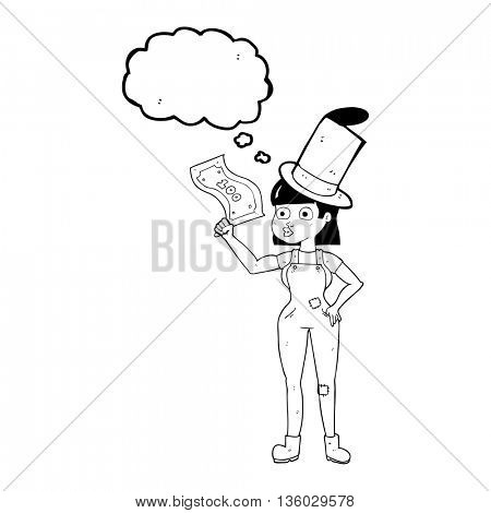freehand drawn thought bubble cartoon woman holding on to money
