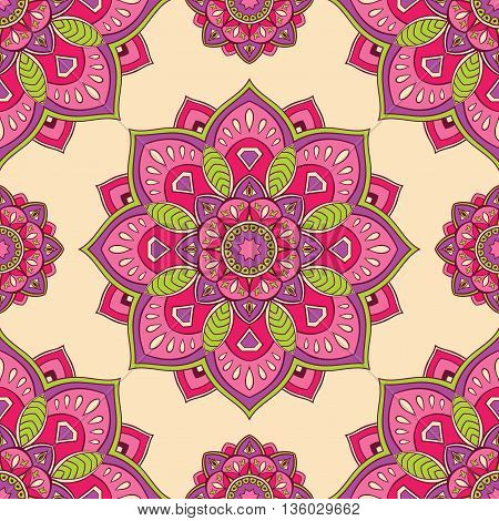 Seamless oriental ornaments of mandalas on a beige background. Colorful vector pattern for carpet wrapping wallpaper textile.