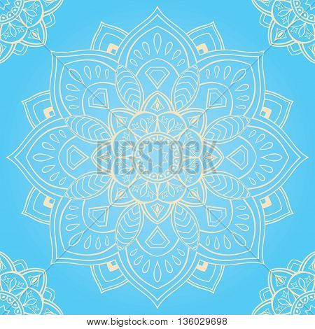 Oriental seamless pattern of mandalas. Vector blue background. Template for textile carpet wallpaper shawls.