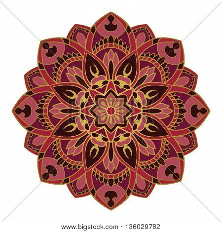 Burgundy mandala on a white background. Round oriental ornament. Vector pattern of gold contours.