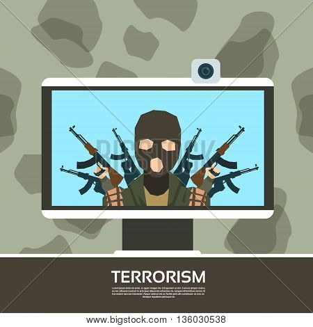 Terrorist Leader On Tv Screen Streaming Television Terrorism Vector Illustration