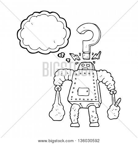 freehand drawn thought bubble cartoon confused robot carrying shopping