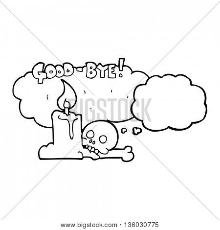 freehand drawn thought bubble cartoon goodbye sign