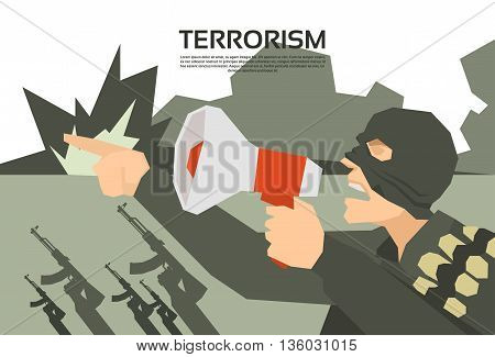 Terrorist With Megaphone Terrorism Group Leader Flat Vector Illustration