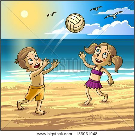 Childrens summer activities. Happy kids boy and girl are playing with ball on sbeach.