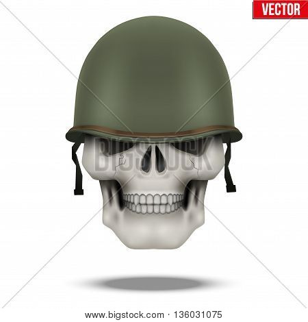 Military US green helmet and skull infantry. Symbol of WWII. Vector illustration Isolated on white background.