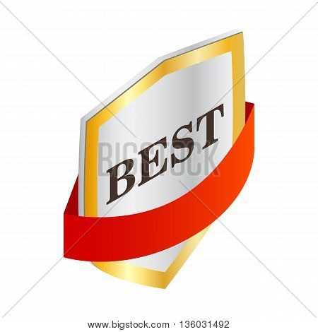 Label best quality icon in isometric 3d style isolated on white background. Products and design symbol