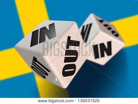 In or Out vote on dice for concept of Sweden leaving the European Union with Swedish flag in the background. Concept for citizens voting for independence and exiting the EU. Swexit.