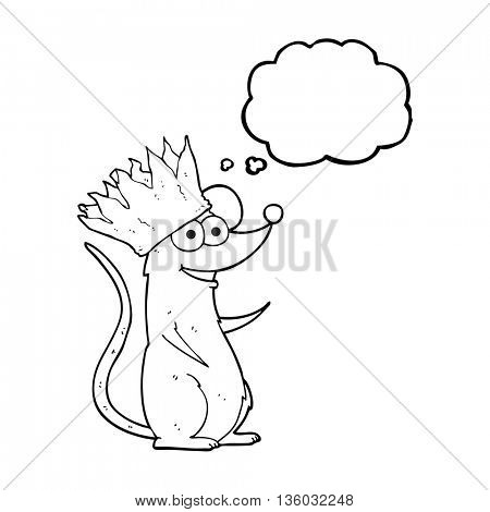 freehand drawn thought bubble cartoon mouse wearing crown