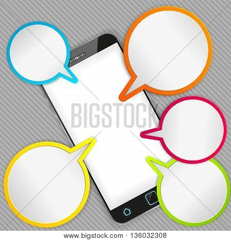 Illustration of a smart phone and speech bubbles