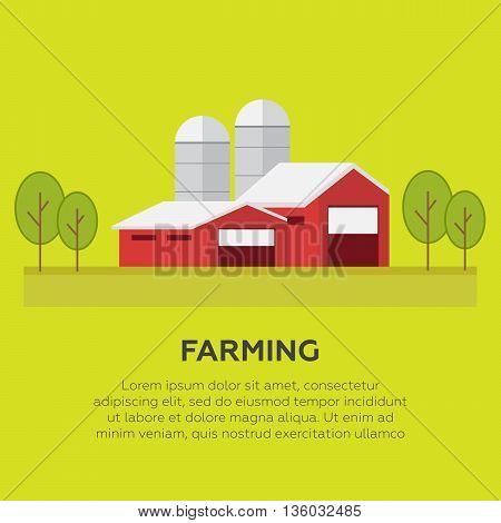 Rural landscape with a farm vector illustration eps10