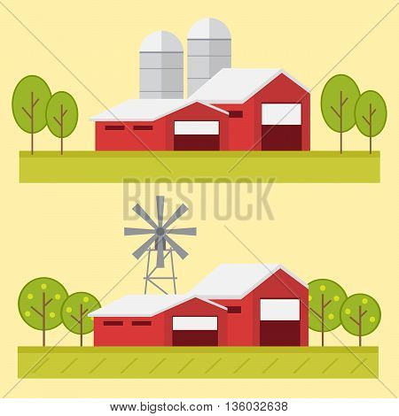Vector illustration rural landscape. Rural landscape with hill farm eps10