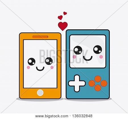 Kawaii and technology concept represented by smartphone and gamepad cartoon icon. Colorfull and flat illustration