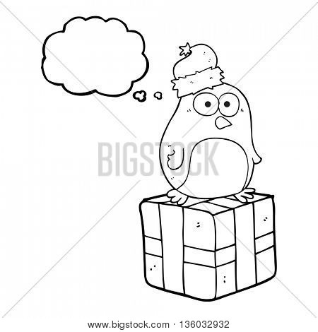 freehand drawn thought bubble cartoon christmas penguin