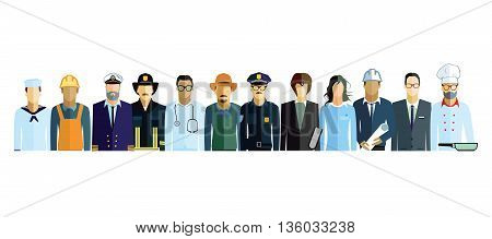 Professions,  employee, worker, professional, physician, doctor, people, fireman, policeman, captain