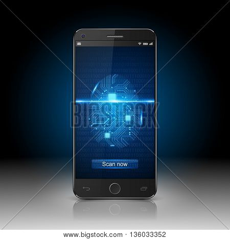 Smartphone protection concept,  Smartphone with finger scan, vector