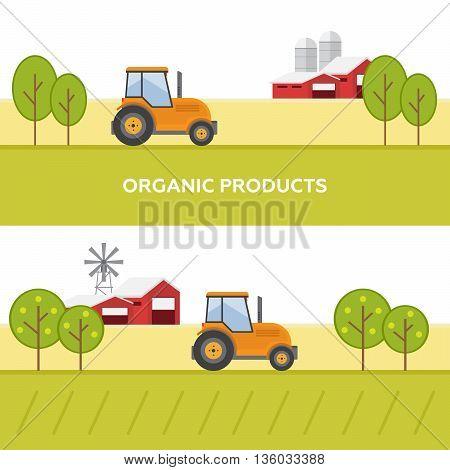 Set vector illustration eco tourism flat style. Rural landscapes eps10
