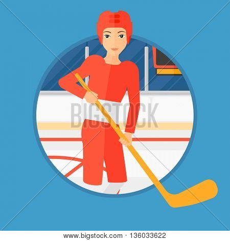 Female ice hockey player skating on ice rink. Professional ice hockey player with a stick. Sportswoman playing ice hockey. Vector flat design illustration in the circle isolated on background.