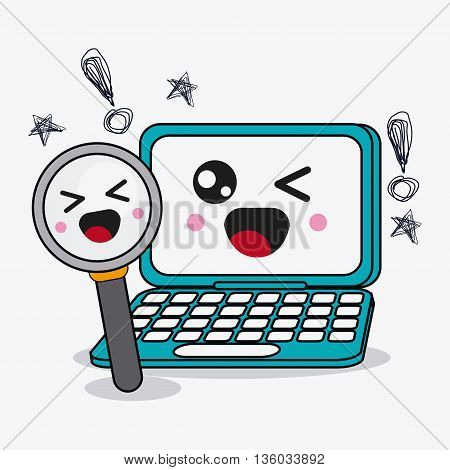 Kawaii and technology concept represented by laptop and lupe cartoon icon. Colorful and flat illustration