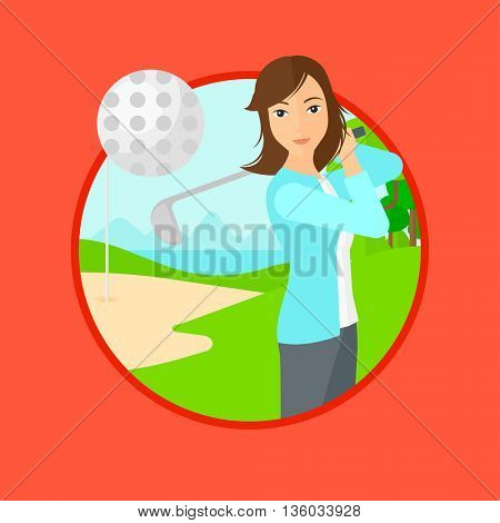 Female golfer hitting the ball. Professional female golfer on golf course. Young woman playing golf. Vector flat design illustration in the circle isolated on background.